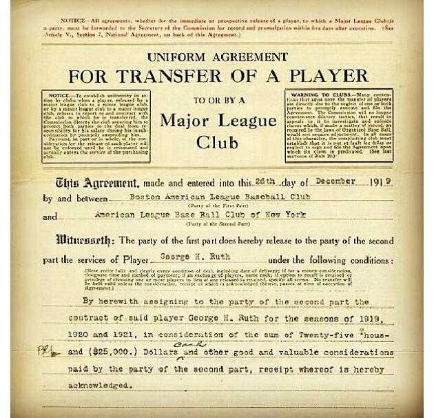 View the contract finalizing Babe Ruth's sale to Yankees