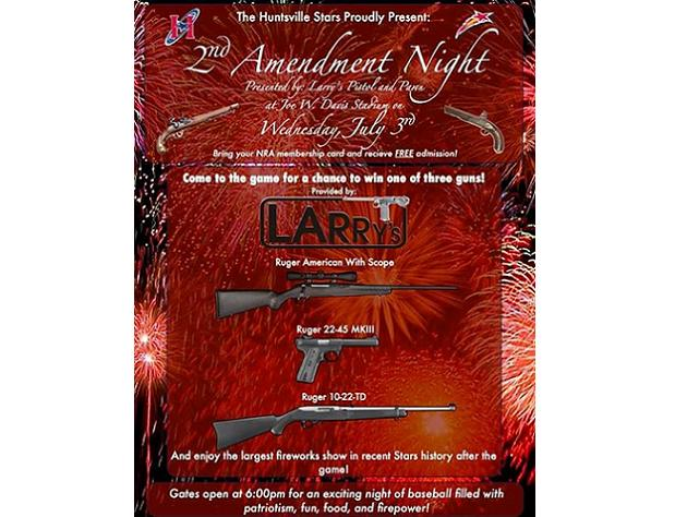 Huntsville Stars to hold gun raffle at 'Second Amendment Night'…