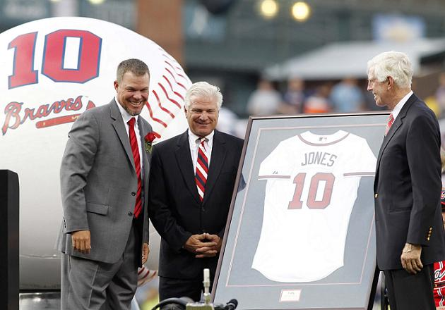 Chippers Jones addresses crowd at Turner Field during jersey re…