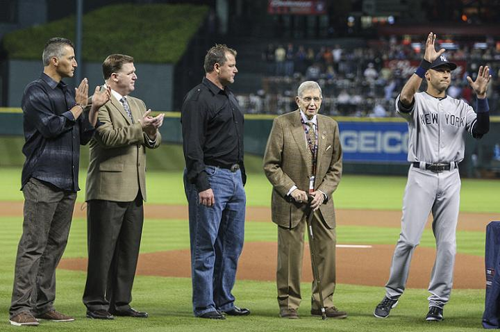 Derek Jeter presented with cowboy hat, boots and golf clubs dur…