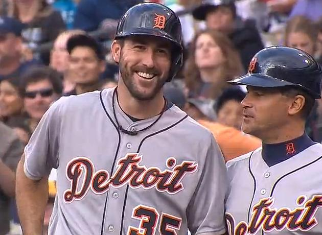 Justin Verlander collects first two major league hits, wins fir…