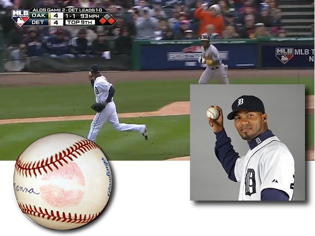 Al Alburquerque kisses ball before throwing it to first, angeri…