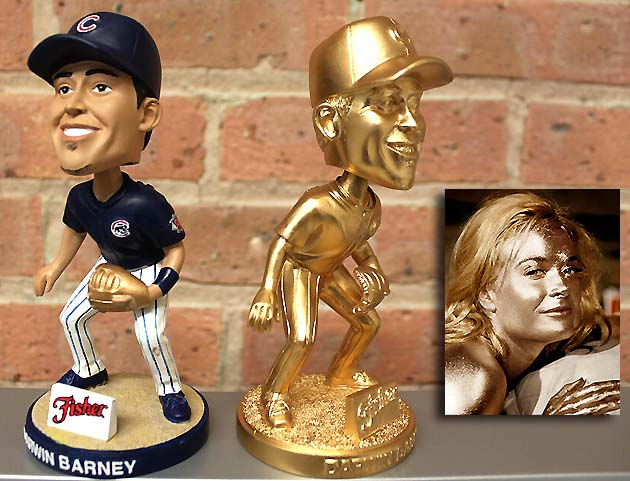 Darwin Barney 'Goldfinger' bobblehead doll on Chicago Cubs give…
