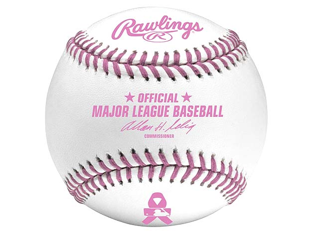 Pink-stitched baseballs ready for breast cancer awareness and M…