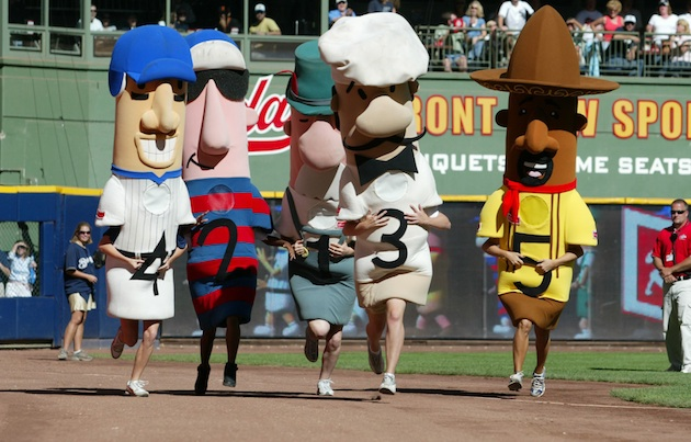 The Milwaukee Brewers' Racing Sausages celebrate 20-year annive…