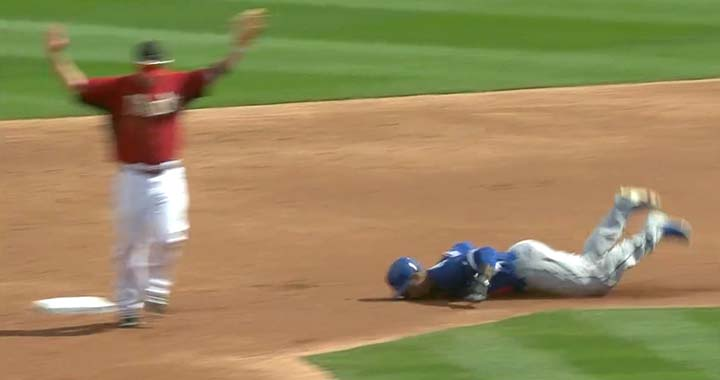 Carl Crawford belly flops into second base (video)