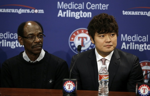 Shin-Soo Choo officially introduced by the Rangers, wearing Nel…