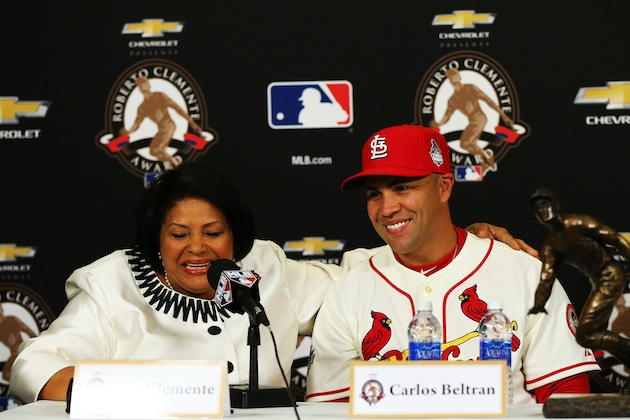 Carlos Beltran wins Roberto Clemente Award, called the 'pride o…