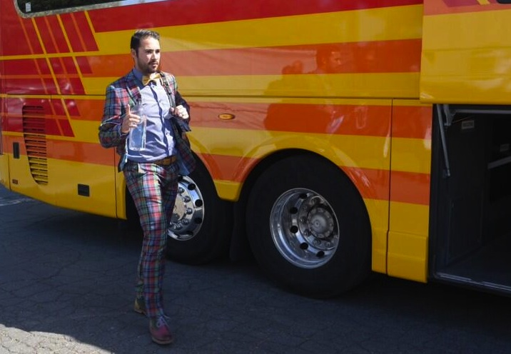Andre Ethier wears a pastel plaid suit and bow tie en route to …