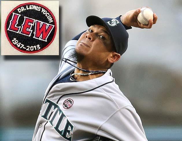 Felix Hernandez wears Angels memorial patch for Dr. Lewis Yocum
