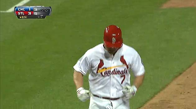 Matt Holliday hits home run with his fly down