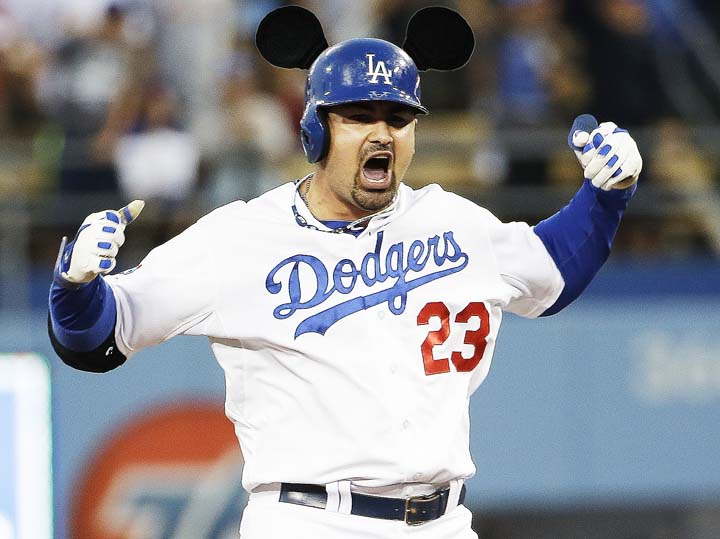 Adrian Gonzalez homers, appears to give himself Mickey Mouse ea…