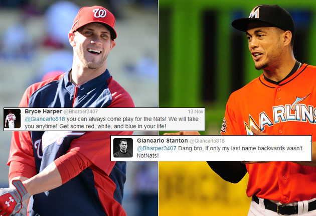Giancarlo Stanton rebuffs Bryce Harper's offer with funny obser…