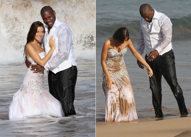 Ryan Howard plays 'trash the dress' with his bride