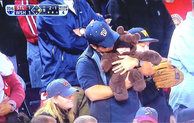 Human teddy bear witnesses thrilling Nationals victory in Game …