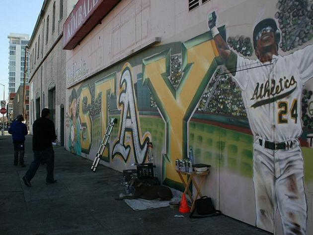 A's fans paint mural urging team to stay in Oakland, get suppor…