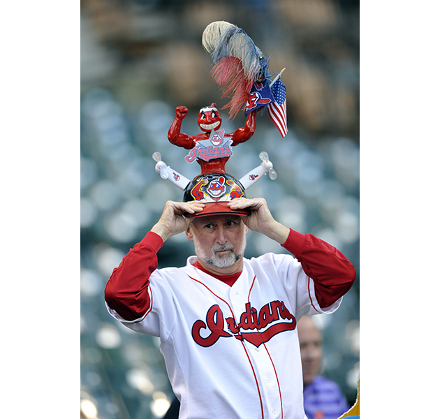 Indians fans dress in red face during AL wild card game