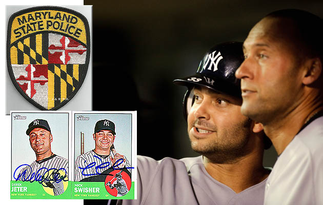 Maryland troopers ask Derek Jeter and Nick Swisher for autograp…