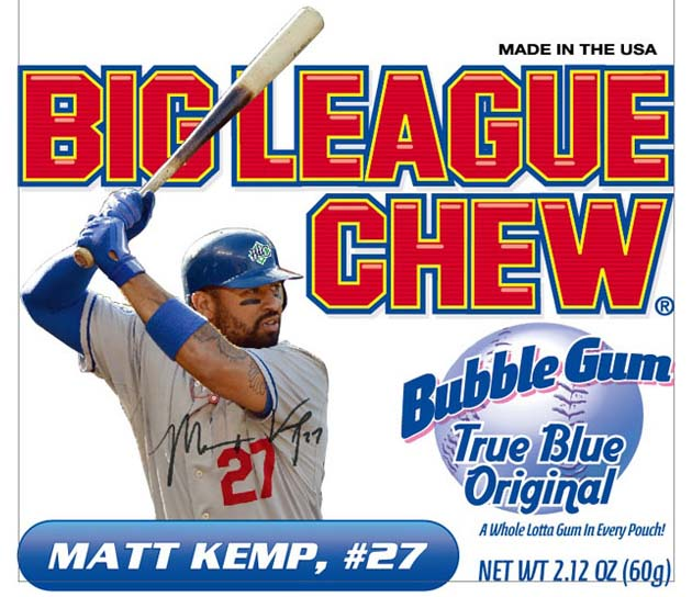 Matt Kemp's image put on Big League Chew pouch