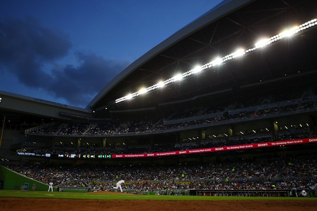 Here's the crowd at the Miami Marlins home opener