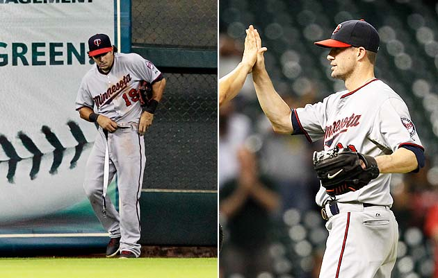 Twins' Darin Mastroianni swaps belts with teammate in bullpen a…
