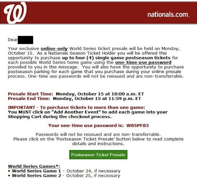 Oops: Nationals fans received information about buying World Se…