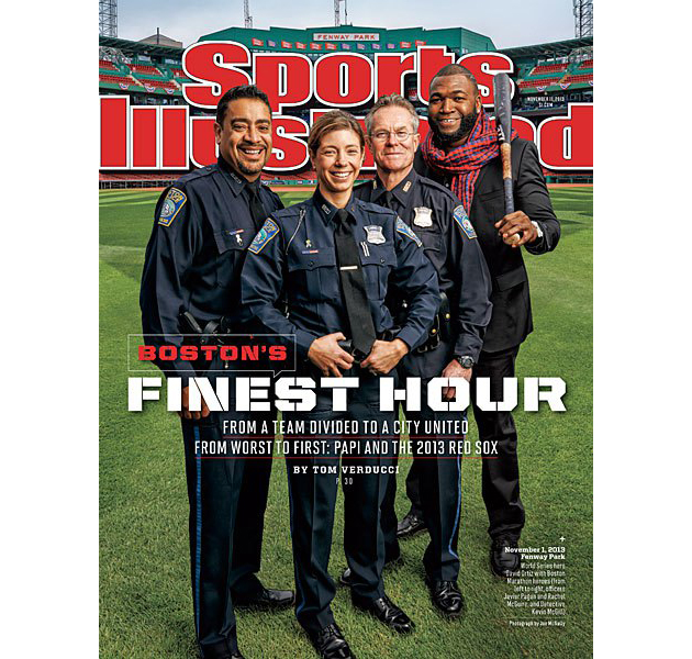 David Ortiz joined by three Boston police officers on the cover…