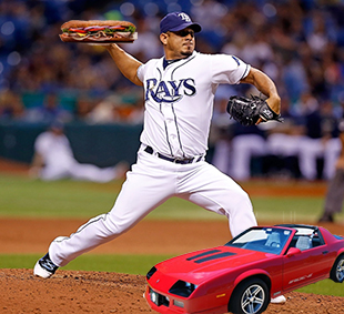 Rays pitcher Joel Peralta pulls off rare sandwich/Camaro injury…