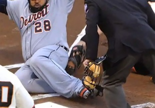 Giants successful relay throw to get Prince Fielder at plate pr…
