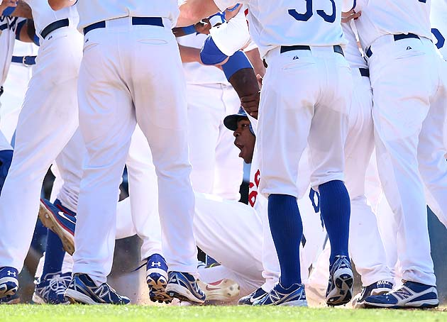 Yasiel Puig slides into plate after hitting walkoff home run