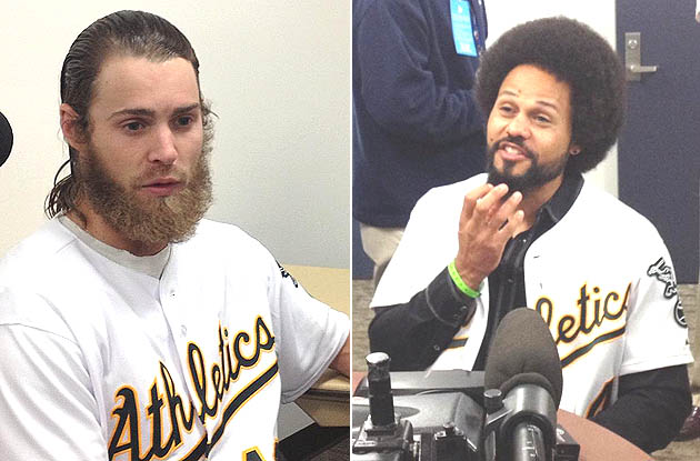 Josh Reddick, Coco Crisp have hair-A's-ing time