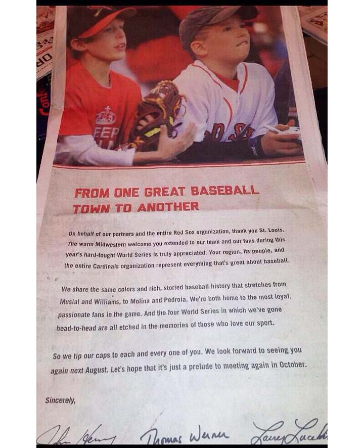 Boston Red Sox place full-page ad in St. Louis Post-Dispatch th…