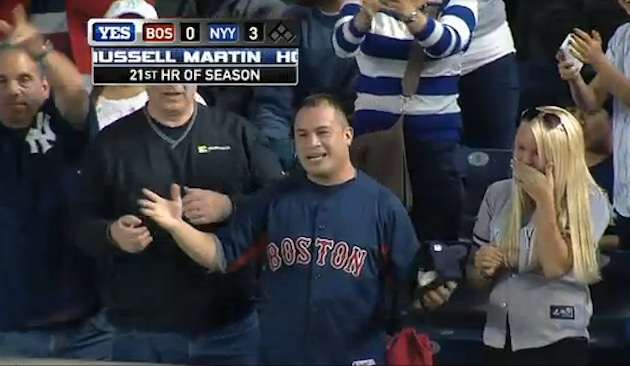 Wanna get away? Red Sox fan helps Yankees out on Russell Martin…
