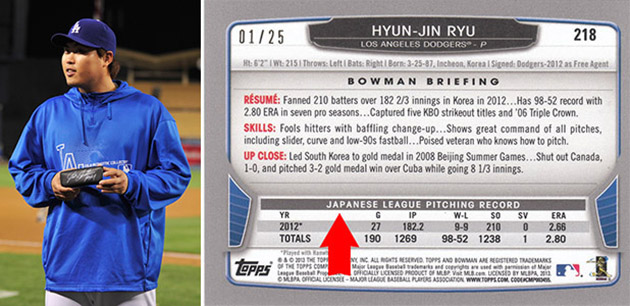 Hyun-Jin Ryu's rookie card has embarrassing error