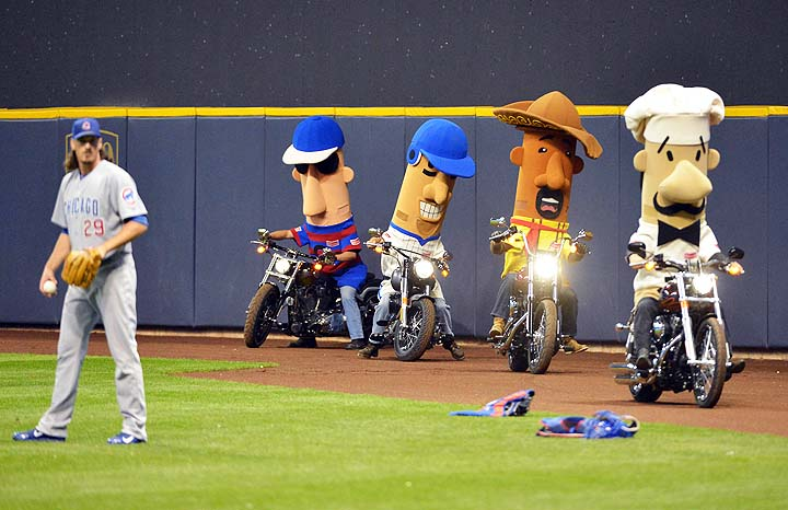 Racing Sausages ride Harley hogs as Jeff Samardzija warms up on…