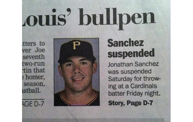 Pirates catcher Tony Sanchez uses newspaper's goof to prank his…