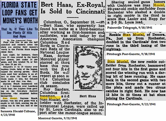 Stan Musial newspaper clips from 1940-41