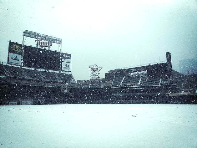 Target Field smothered by frozen white substance