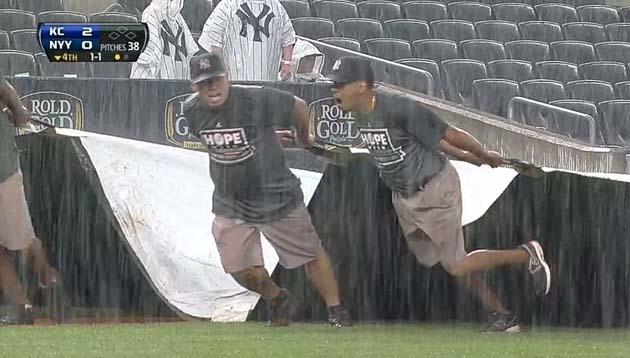 Yankee Stadium tarp too heavy to pull after rain surprises grou…