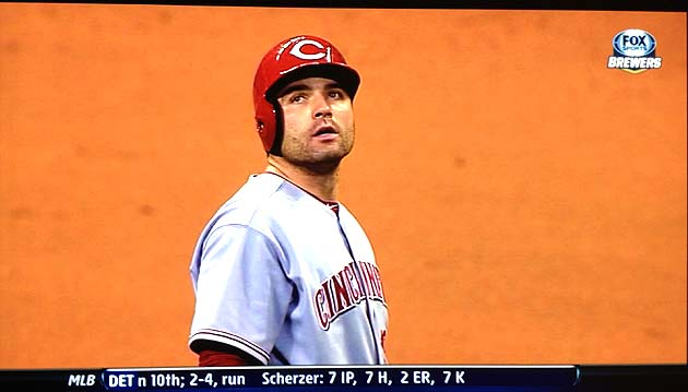 Carlos Gomez robs Joey Votto of home run in 9th