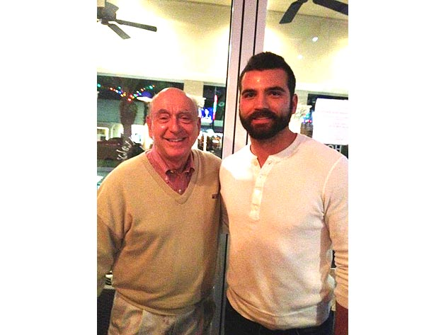 Bearded Joey Votto poses for snapshot with big fan Dick Vitale