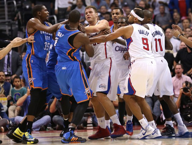 Matt Barnes and Serge Ibaka ejected after skirmish, Blake Griff…