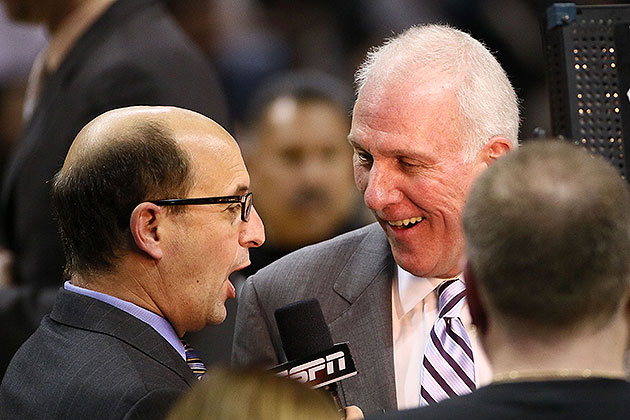 Jeff Van Gundy interviewed Gregg Popovich during Spurs-Maverick…