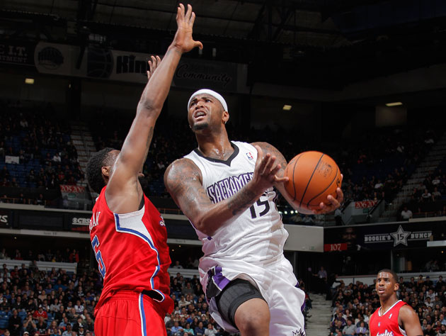DeMarcus Cousins celebrates a huge Sacramento Kings win by yell…