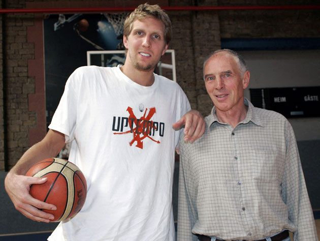 Dirk Nowitzki welcomes basketball mentor Holger Geschwindner ba…