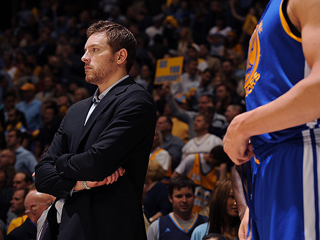 2013 NBA playoffs -- David Lee in uniform for Golden State Wa