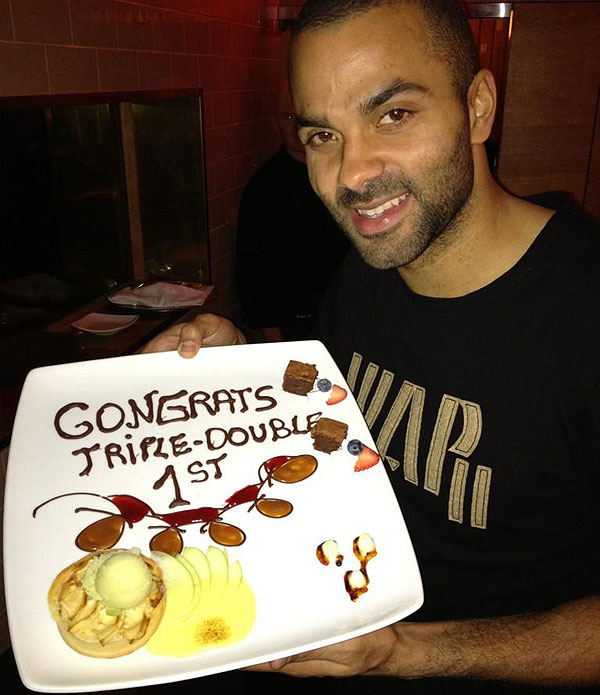 Tony Parker celebrates first NBA triple-double with French dess…
