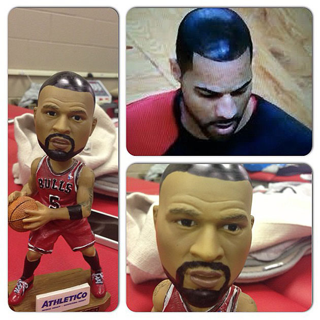 Nate Robinson drew hair on his Carlos Boozer bobblehead doll, b…