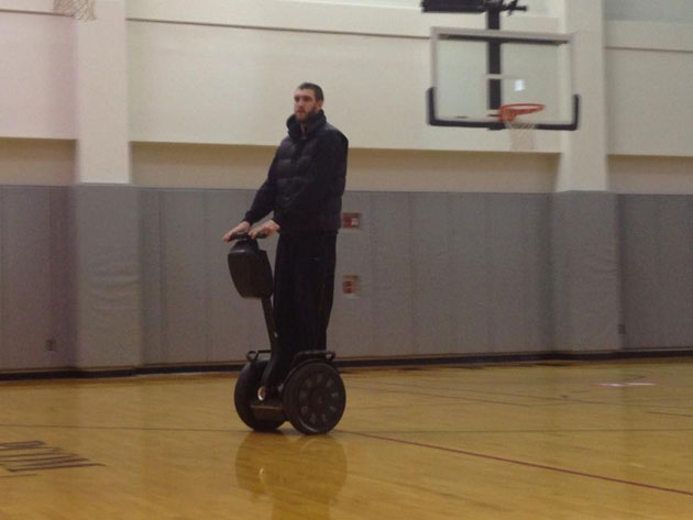 Spencer Hawes rode his Segway around Philadelphia 76ers' practi…