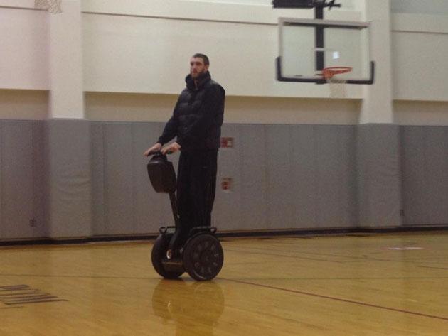 Spencer Hawes rode his Segway around Philadelphia 76ers' practi…